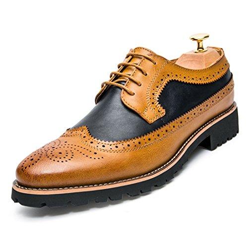Men's Fashion Brogue Genuine Leather Formal Shoes Orange