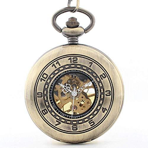 Pocket Watches Klassische doppelte Skala arabischen Wort Flip mechanische Taschenuhr römischen Literal Hohl zurück durch Männer und Frauen Tisch(braun) (braun)