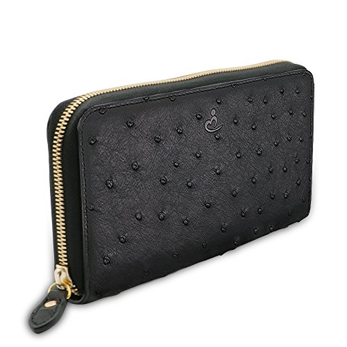 Demupai Herren echtes leder lange brieftasche - um geld (Ostrich Skin-Brown) (Ostrich Leder Skin)
