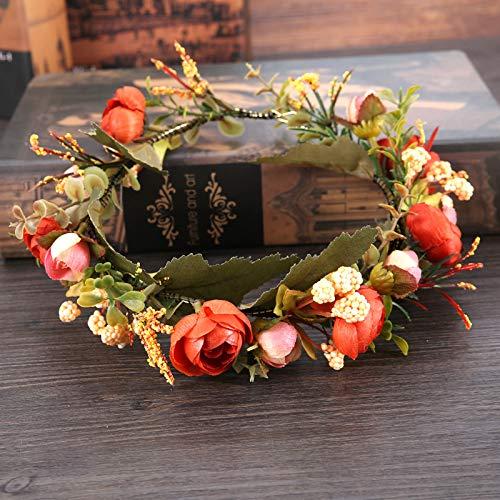ZUXIANWANG Tiara Hochzeit Mädchen,Fashion Vintage Foto Simulation Kranz Bridal Wreath Kopfschmuck Beach Flower Hut Accessoires Blume Hochzeit Schleier Zubehör Haarschmuck (Mittelalterliche Prinzessin Hut)