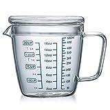 OnePine 500ml Taza de medición de Cristal con Tapa, Jarra medidora Vidrio para la Cocina