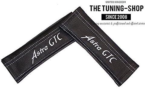 2x Sicherheitsgurt Abdeckungen Pads Schwarz Schultertasche Leder weiß Astra GTC Edition für Vauxhall (Mazda 6 Oem Sostituzione)