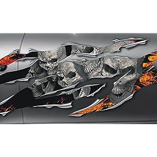 Autoaufkleber, Seitendekor: 3D Metal - Skullz on Fire Totenkopfaufkleber S070-150 cm