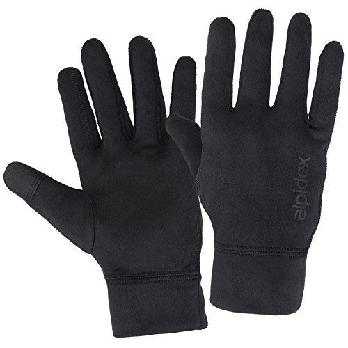 Alpidex Laufhandschuhe RUNNER UP leichte Sporthandschuhe Unisex mit Touchscreen Funktion, Größe:S, Farbe:black