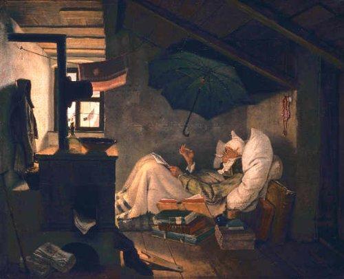 Kunstreproduktion: Carl Spitzweg 'Der arme Poet' 102 x 83