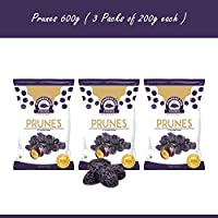 Wonderland Foods Dried Pitted Prunes 600gm (Pack of 3 * 200g Each)