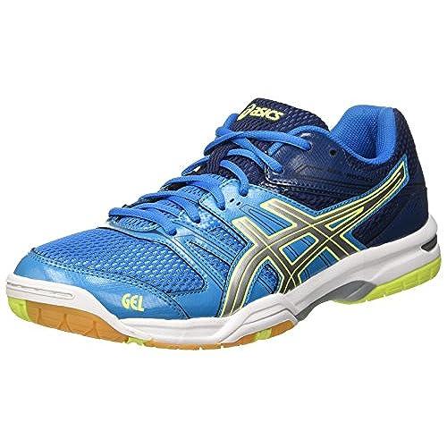 Asics Men's Gel-Rocket 7 Volleyball Shoes, Multicolor (Blue Jewel/Glacier  Grey/Safety Yellow), 9 UK