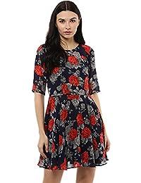 44812fab8d851b Roving Mode Women s Floral Georgette High Neck A-Line Mini Dress