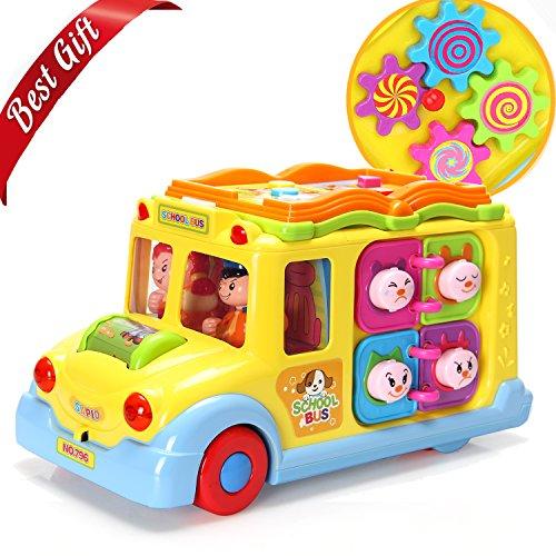 bus-Spielzeug,Fahrzeug mit multi-Funktionen, Tiergeräuschen,Musik,Lichtern und omnidirektionalem Auto mit Sensorrad, bestes Geschenk -Spielzeug für Kleinkinder,Babys (Beste Spielzeug Für Kleinkinder)
