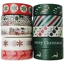 Leo's Choice 1,5cmX10m Rote und grüne Weihnachten Washi Tape 10 Rollen