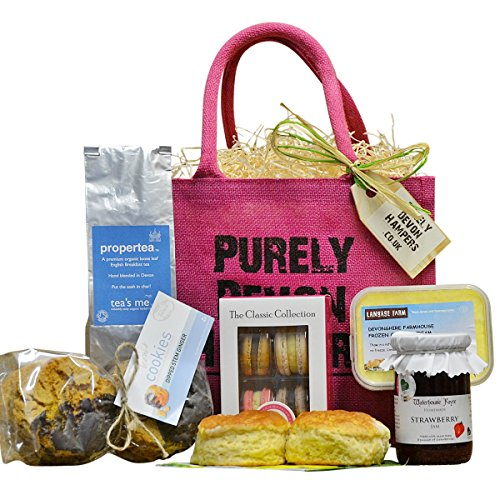 Purely Devon Hampers - Afternoon Tea With A Twist (raspberry jute bag) Gift For Her
