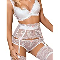 Roza Ambre White Lace and Pink Bow Brief Large