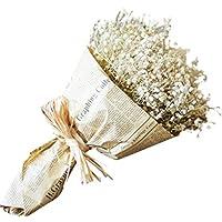 flores artificiales decoración jarrones Sanysis ramos de Gypsophila exterior flores secas naturales (blanco)