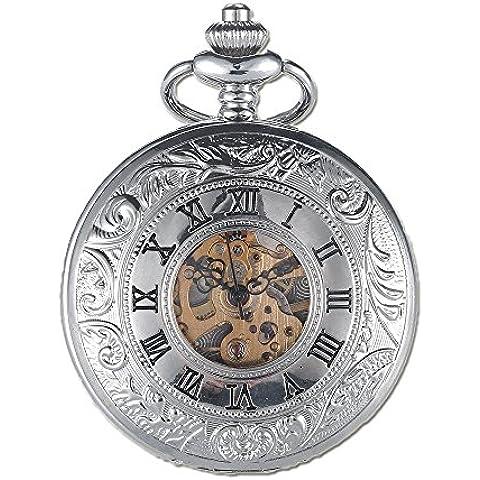 vear da uomo argento scheletro meccanico orologio da tasca mano Vento Doppio Open Hunter Caso Incisione con catena, Uomo, Silver, Taglia unica