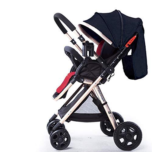 Passeggino per passeggino Passeggino reversibile per sedersi e sdraiarsi Passeggino pieghevole ultraleggero per l\'oro (Color : Linen blackMulti-colored)