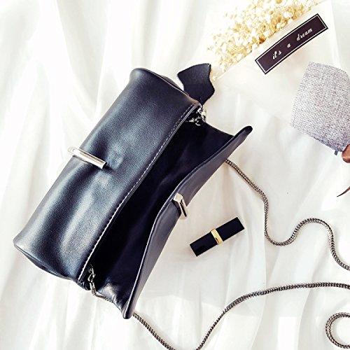 Donne Pelle Frizione Moda Colore Solido Metallo Graffetta Il Sacchetto Di Catena DarkGreen