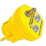 Minadax Erdungsbaustein - EBP - Innovativer ESD-Schutz - Antistatik Erdungsstecker Schutzkontaktstecker - 1 x M5 Ösenanschluss und 2 x Druckknopfbuchse - 1 Megaohm Sicherheitswiderstand