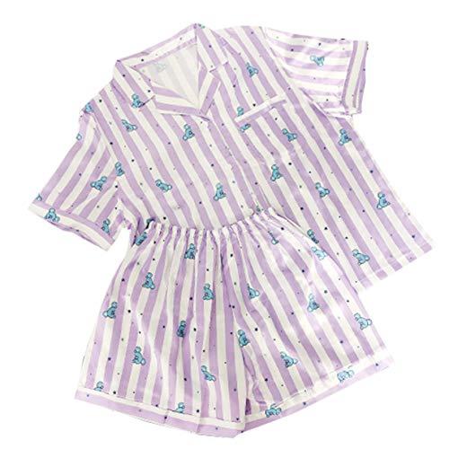 2 Stück Zwei Stück Pyjama Set (BT21 Bangtan Boys Karikatur drucken Pyjamas Zwei Stücke Set Nachtwäsche Sommer Casual Home Kleidung (7,L))