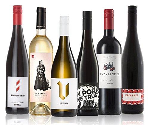 GEILE WEINE Weinpaket Winterweine | (6 x 0,75l) Gemischtes Probierset mit Rotwein und Weißwein von Winzern aus Deutschland, Italien und Frankreich