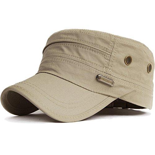Kuyou Unisex Army Military Flat Cap Vintage Cotton Baseballmütze Kappe (003Beige) - Gott Cap