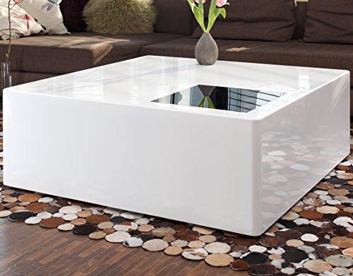 Couch Tisch Weiß Hochglanz Aus MDF 100x100cm Quadratisch | Blox | Moderner  Wohnzimmer Tisch Weiss Mit Schwarzglas 100cm X 100cm