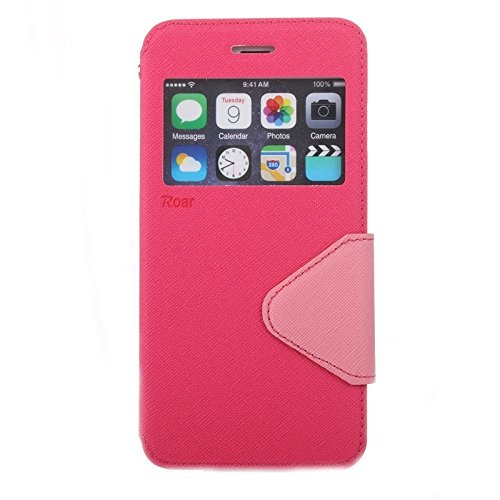 Wkae Case & Cover Roar Cross Texture Flip Case en cuir avec support et fente de carte et la fenêtre de l'afficheur pour iPhone 6 ( Color : Yellow ) Magenta