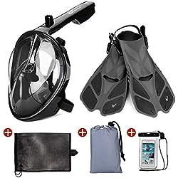 Odoland Set de Masque de Plongée 5 en 1 avec Masque Snorkeling Plein Visage 180° Visible, Palmes de plongée, Couverture de Plage, Sac de Rangement Portable et étui de téléphone étanche