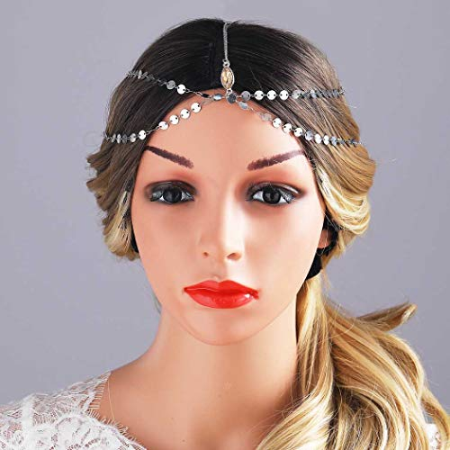 Yean Gold Kopf Kette Böhmischen Haarschmuck Kopfschmuck Stirnband Festival Haar Stirnband Zubehör für Frauen und Mädchen (Silber)