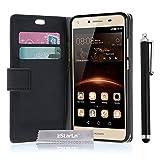 zStarLn® schwarz Hülle Leder Tasche für Huawei Y6 II