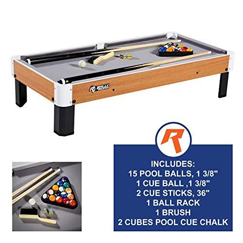 Tisch-Pool-Set mit Zubehör, 102x51x23cm - Miniatur-Billardtisch, Reisegröße mit Kugeln, Cues und Ständer - Spannende, mobile Familienspiele für Kinder, Partys, Camping, auf Reisen