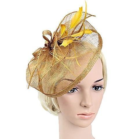 JasmineLi New Fasion Feather Hair Clip Headpieces Mesh Fascinator Nylon Headband Hat Clip Wedding Tea Party