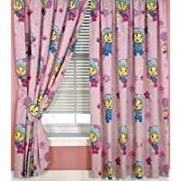 "Fifi and the Flowertots Jump Flowers Pink Curtains 66 x 54"" including Tie Backs"