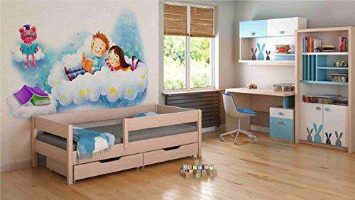 Children's Beds Home Einzelbetten für Kinder Kinder Kleinkind Junior ohne Schubladen ohne Matratze (180x80, Eiche hell) -