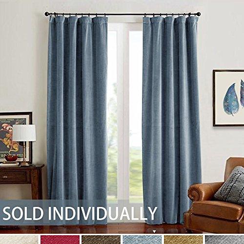 TOPICK Velvet Vorhänge mit Stangenbezug Velours für Schlafzimmer 132 x 241 cm (B x H) Velvet Samt Blau, 1er-Set - Velvet Vorhänge