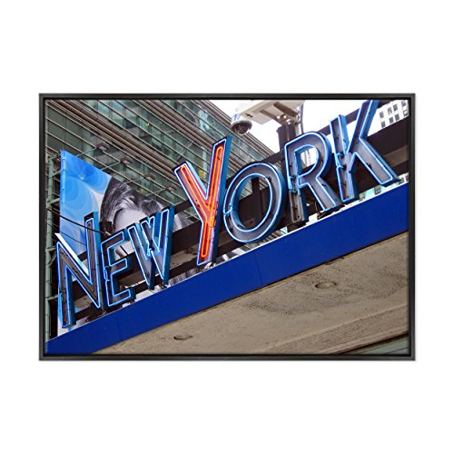 Bild auf Leinwand Canvas-Gerahmt-fertig zum Aufhängen-New York Times Square-NY City USA Amerika Dimensione: 70x100cm B - Colore Nero Moderno