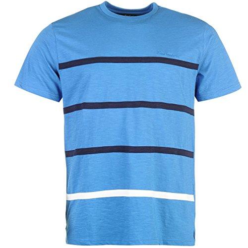Pierre Cardin Herren St Appliq T Shirt Gestreift Kurzarm Rundhals Blau/Marineblau Streifen