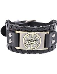 EUEAVAN Viking Tree of Life Slavic Sun Wheel Pagan Braided Wide Talisman Leather Wristband Bracelet