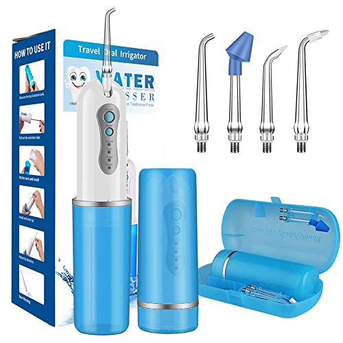 UOUNE Munddusche Elektrische Wasser Flosser 3 Modi und 5 Düsen Wiederaufladbarer Zahnreinige, IPX7 Oraler Irrigator,240ML Oral Irrigator für eine gründliche Reinigung und Massage