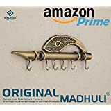 MADHULI Lord Krishna's Flute and Peacock Quills Zinc Key Holder for Home and Office,18.5x 6.0x1.5cm (Bronze)