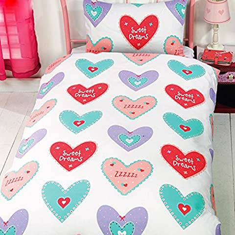 Hearts - Juego de fundas nórdico/edredón cama individual para niñas. (Cama de 90/Multicolor)
