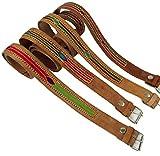 Guru-Shop Hippie Gürtel Bestickter Ledergürtel Rajasthan, Herren/Damen, 110 cm, Gürtel Alternative Bekleidung