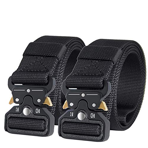 AIZESI Tactical Gürtel Beutegürtel Sicherheitsggurte Jungen Herren Gürtel Tactical Duty Gürtel Nylon Gurtband Mit Gürtelschnalle (2 Stück(schwarz))