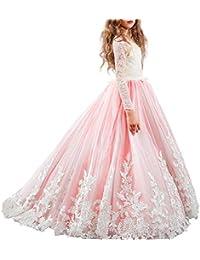 OBEEII Vestito da Ragazza Festa in Pizzo per Bambini Abiti da Sposa Vestito  Principessa Damigella Bambina Manica… d77f88537bb