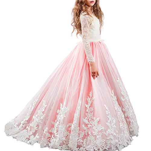 f81418553bf5 OBEEII Vestito da Ragazza Festa in Pizzo per Bambini Abiti da Sposa Vestito  Principessa Damigella Bambina