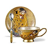 Panbado Tasses à Thé Service à Café 200ml avec Soucoupe Cuillère en Porcelaine Fine Motif Peinture ' Le Baiser ' Art de Climt (1 Set Tasse à Thé Sans Porte-tasse)