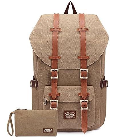 """Rucksack Damen Handgepäckrucksack Herren KAUKKO Backpack Schulrucksack KAUKKO 17 Zoll Laptop Rucksack für 15"""" Notebook Lässiger Daypacks Schultaschen of 2 Side Pockets für Wandern Reisen Camping (Ckhaki 2PCS)"""