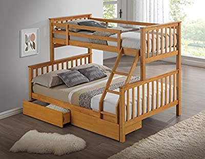 Modern beech triple bunk bed with drawers - Ladder - 3ft + 4ft6 - Can be split into 2