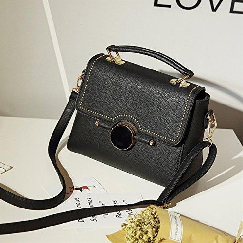 Weibliche runde verschluss kleine quadratische tasche handtasche schultertasche diagonale Weibliche paket Schwarz
