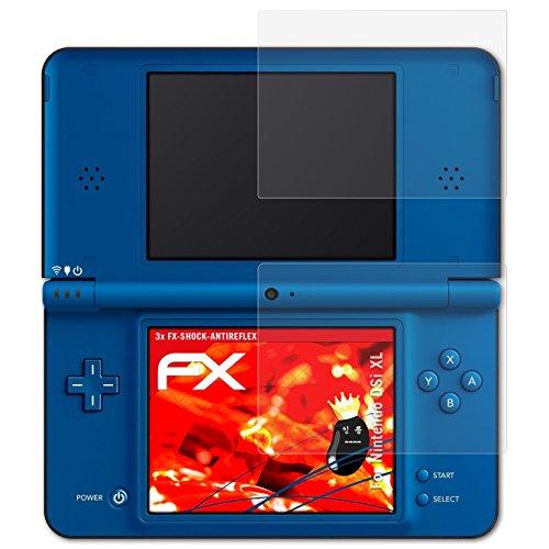atFoliX Panzerschutzfolie für Nintendo DSi XL Panzerfolie - 3er Set FX-Shock-Antireflex blendfreie stoßabsorbierende Displayschutzfolie