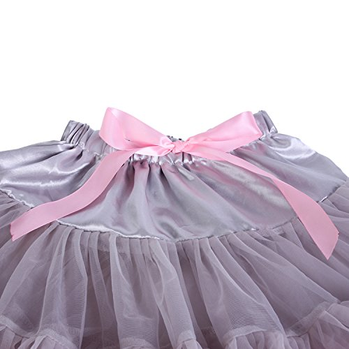 Tortoise & Rabbit Donne adulte balletti danza partito costume soffice elastico in vita Pettiskirt Gonna Tutu Skirt Grigio rosa